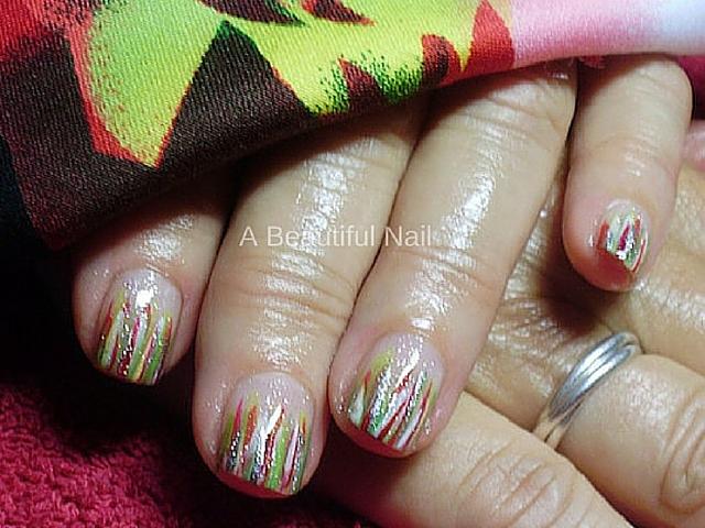 Nail art glitter streep