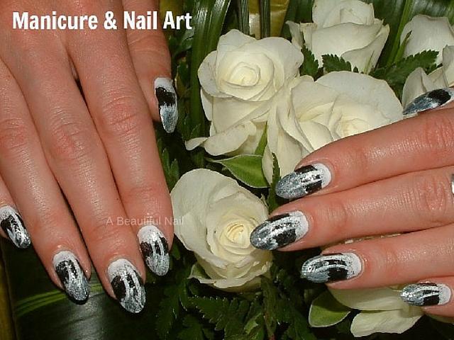 Nail-art zwart wit zilver