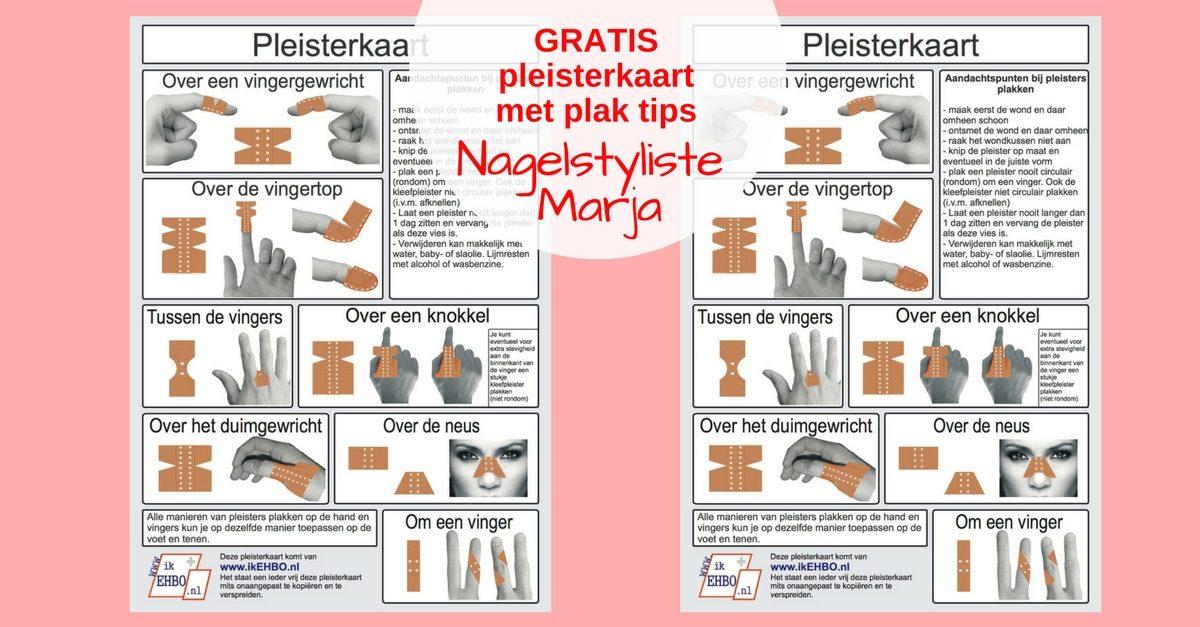 Gratis Pleisterkaart met plak tips. Voorbeelden van pleisters en hoe je ze moet plakken