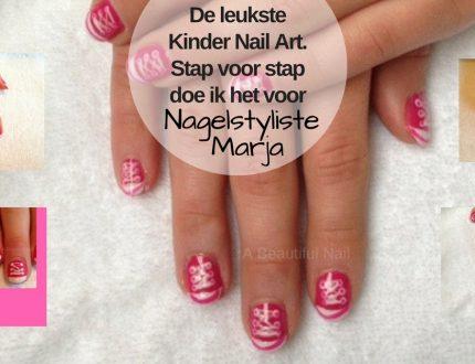 Kinder Nail Art met foto voorbeelden #2. Kinderhan met Nail Art gympen