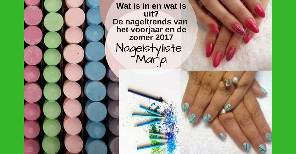 De nageltrends voor het voorjaar en de zomer. Kleuren 2017 handen met nagelvorm en handen met Nail Art