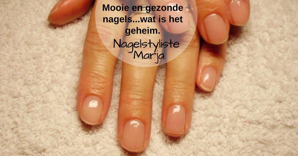 Het geheim van een mooie en gezonde natuurlijke nagel. Hand met mooie gezonde glanzende nagels