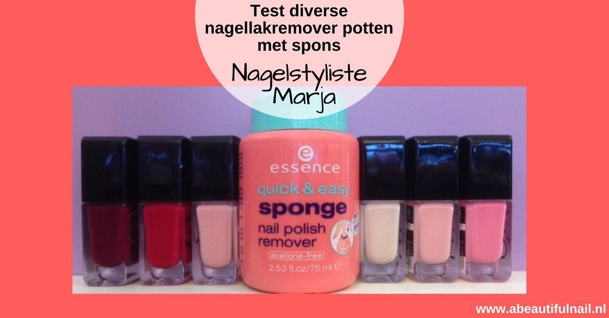 nagellakremover pot met spons, pot remover met flesjes gekleurde nagellak.