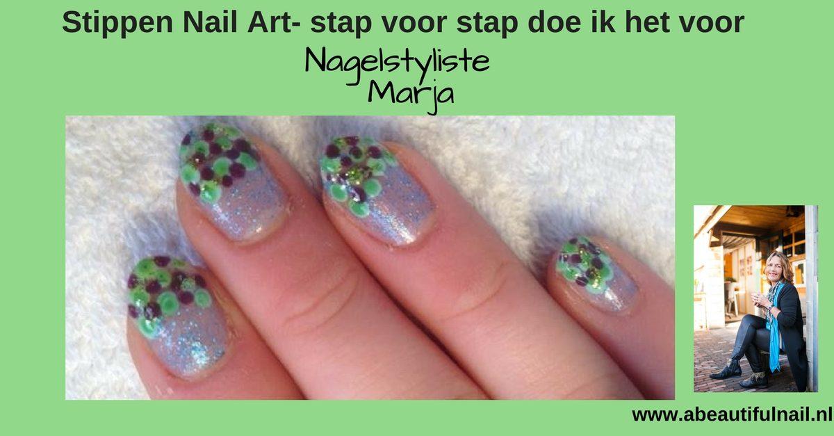 Stippen Nail Art- stap voor stap doe ik het voor, hand met groen, blauwe, en paarse stippen